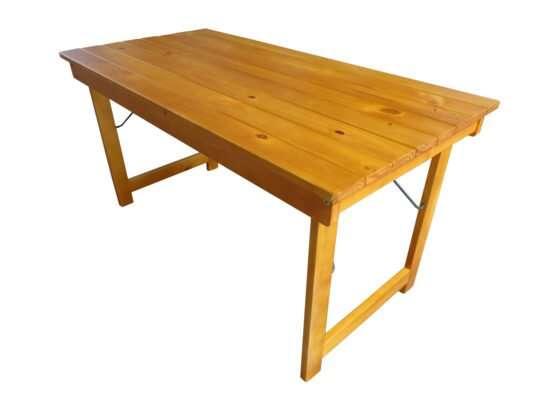 mesa plegable 1,5mts laqueada